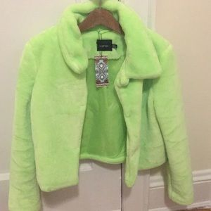Neon green fur jacket NEW